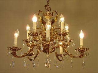 Fine 10 Light Brass Chandelier Crystal Vintage Lamp Old Antique Heart Shape photo