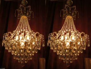 Antique French Huge Spider Style Crystal Chandelier Lamp 1940s 20 In photo