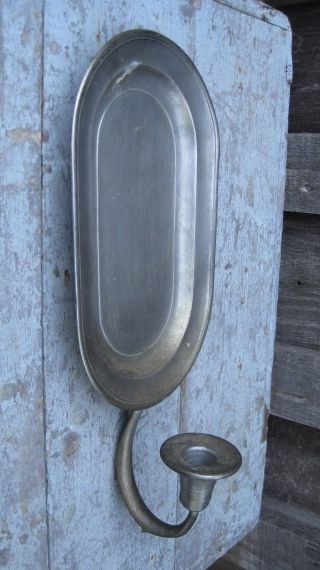 Vintage Mid Century Pewter Wall Sconce Taper Candle Holder Home Garden Patio Usa photo
