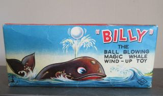 Vintage Old Billy The Ball Blowing Whale Wind Up Ko Japan Tin Toy With Orig Box photo