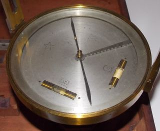 Vintage Quality Rare Brass Compass - Orig Wood Case - Calculate Distance & Direction photo