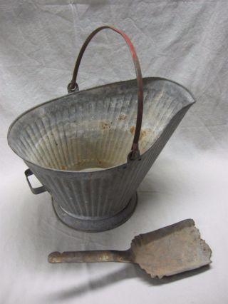 Vintage Metal Coal Scuttle Hod Ash Bucket - 2 Handles With Ash Shovel photo