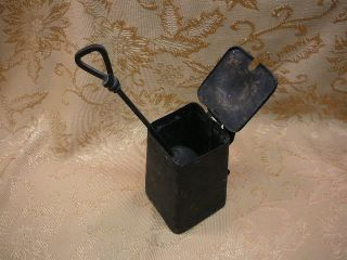 Wall Mount Iron Fire Starter - Smudge Pot - 1916 - Black photo