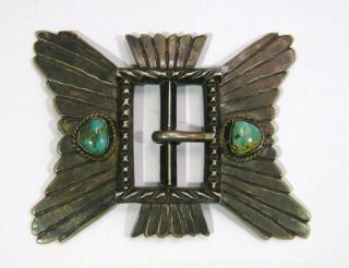 Large Old Pawn Navajo Sterling Silver Turquoise Belt Buckle Native American photo