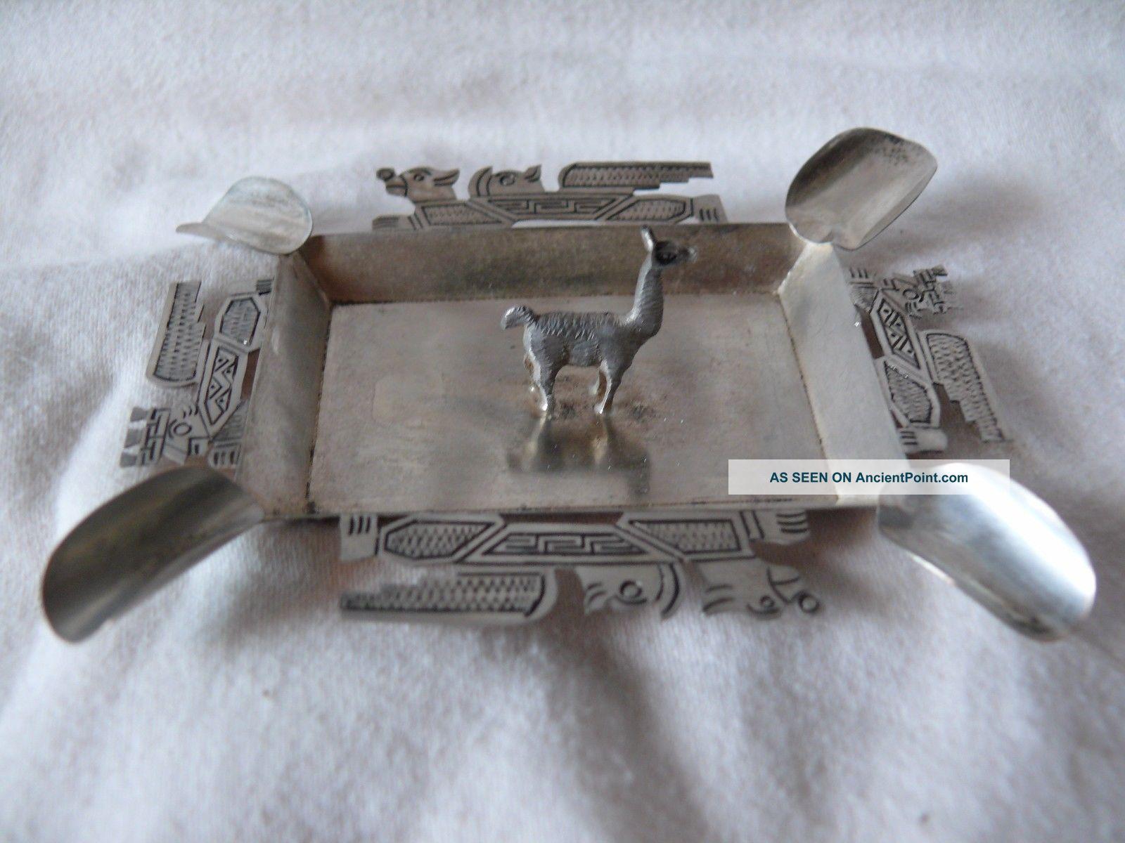 Silver Small Peru Ashtray With Llama Latin American photo
