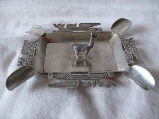 Silver Small Peru Ashtray With Llama photo