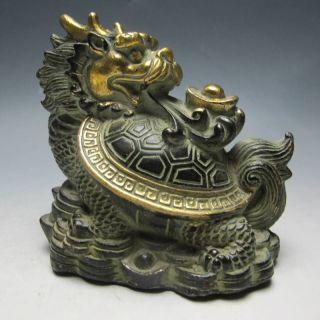 Chinese Bronze Hand Work Statue - Dragon Turtle photo
