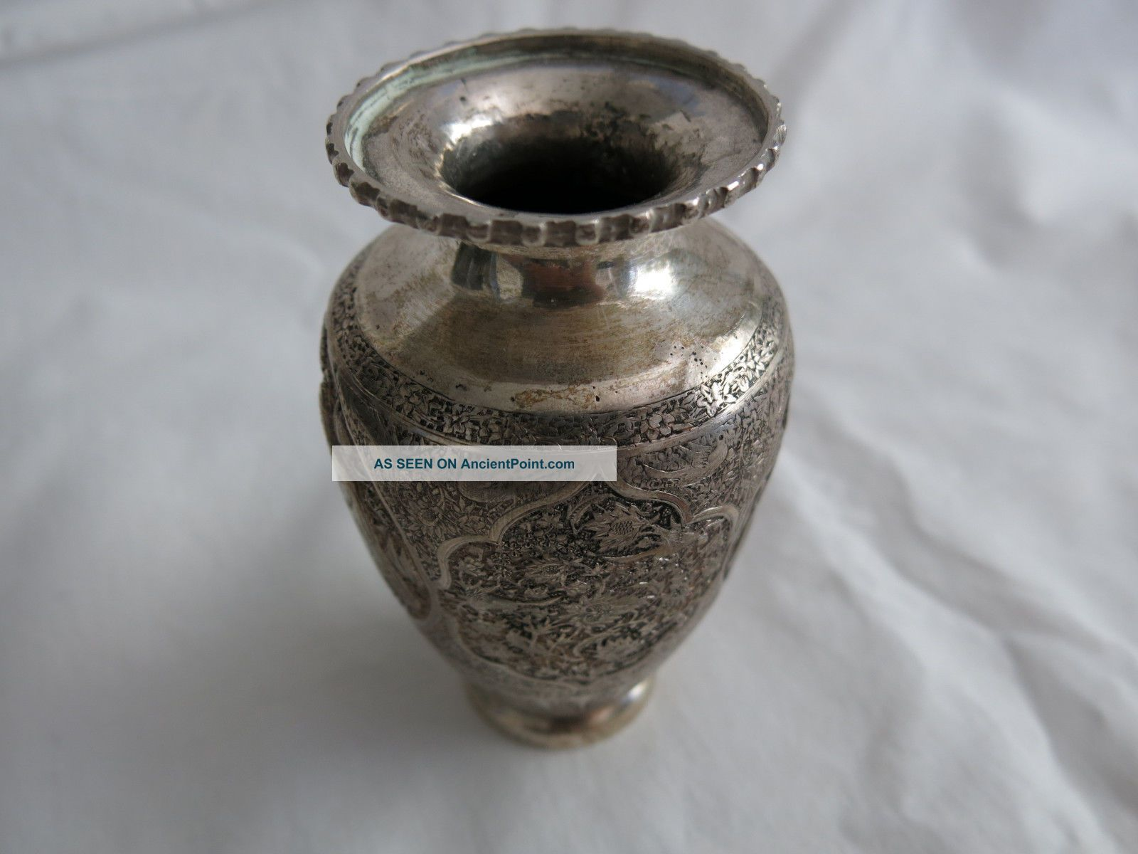 Vintage Persian Ottoman Islamic Sterling Silver Vase. Middle East photo