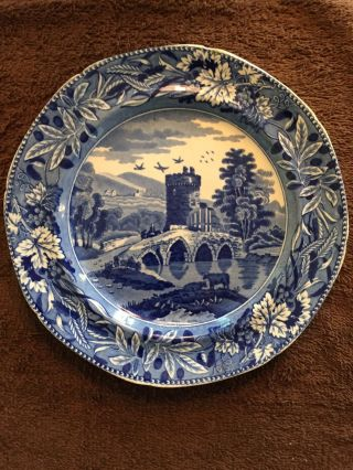 Antique Earthenware Plate Blue Transfer Design English 9 3/4