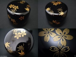 Japanese Lacquer Wooden Tea Caddy Spring And Autumn Makie Natsume (616) photo