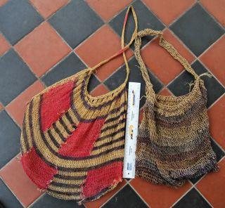 2 X Old Papua Guinea Bilum Woven Bags - Estate Find photo