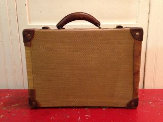 Rare Antique 1900s - 1920s Woven Caned Wheat Grass Train Suitcase,  Leather photo