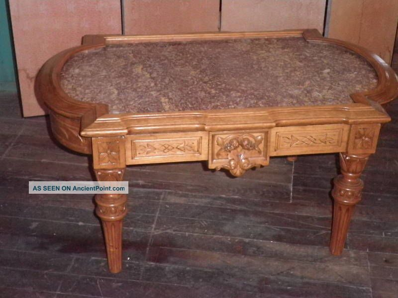 Carved Walnut Coffee Table,  Marble Topped Coffee Table,  Victorian Coffee Table106a Unknown photo