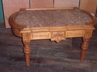 Carved Walnut Coffee Table,  Marble Topped Coffee Table,  Victorian Coffee Table106a photo