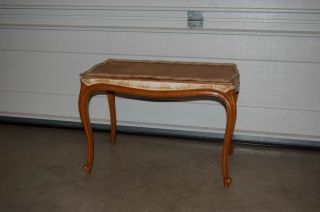 Estate Vintage French Bedroom Bench - Very Solid / Ready For Reupholstering photo