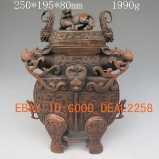 Chinese Bronze Vase & Lid W Fortune Beastk photo