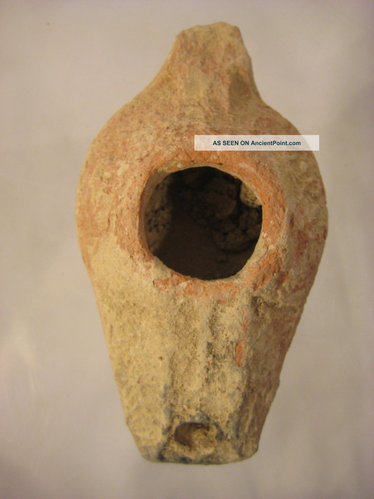 Ancient Judean Palm Leaf Oil Lamp,  Artifact From The Holy Land 300 - 500ad Byzantine photo