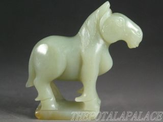Old Chinese Nephrite Celadon Jade Carved Horse Statue 19thc Top Quality photo