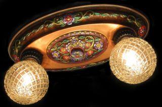 Highly Decorated Antique Art Deco/nouveau/victorian Dual Light Ceiling Fixture photo