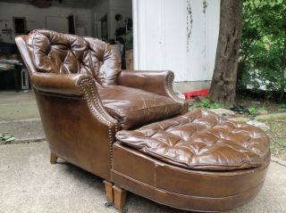 Vintage 60 ' S Century Leather Chair And Ottoman Shiny Brown Look Buy photo