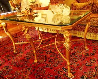 Maison Jansen Regency Gorgeous Huge Tall Coffee Table Gold Florentine Rare photo