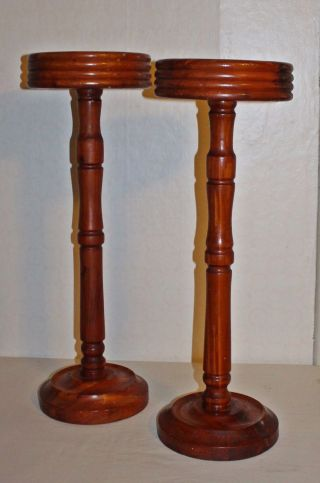 2 Matching Antique Solid Hand Turned Cedar Plant Pottery Stands Tables photo