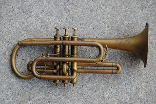 Vintage/antique Abbott Mfg Co Brass Cornet photo
