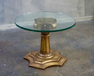 Vintage Italian Gilt Wood & Glass Top Side Table Hollywood Regency photo