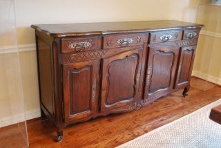 Antique French Carved Buffet 19th Century Oak photo