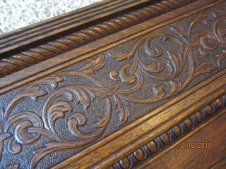 Embossed Tiger Oak Furniture Pediment Victorian Doorway Fretwork Carved Panel photo