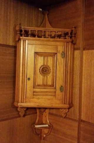 Vtg Eastlake Carved Oak Corner Cabinet Ribbed Panel Detailed Rosette - Will Ship photo