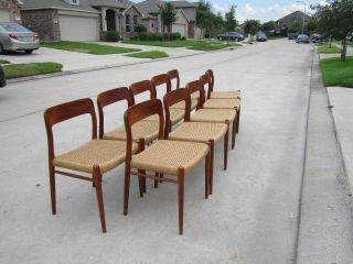 Ten Modern Danish Teak And Woven Chairs By J L Moller Model 75 photo