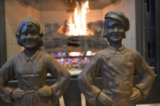 Antique Dutch Hansel & Gretel Fireplace Andirons.  1930 ' S Cast Iron Awesome Look photo