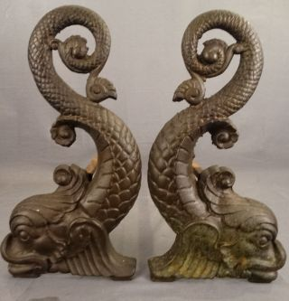 19thc Antique Bronze Victorian Bradley & Hubbard Nautical Dolphin Fish Andirons photo