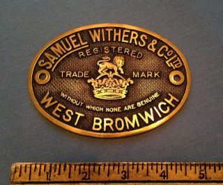 Authentic Antique Victorian Brass Safe Plaque Samuel Withers & Co - Not A Repro photo