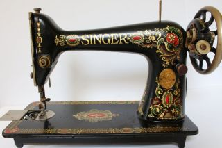 Vtg Antique 1924 Red Eye Singer Treadle Sewing Machine Model 66 G0813331 photo