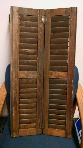 Antique Vintage Wood Shutters,  Pair,  32