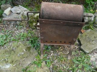 Antique French Wrought Iron Coffee Bean Roaster photo