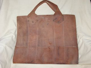 Vtg Antique Leather Wood Carrier Pouch Bag Cabin Decor Hearth Ware Western photo