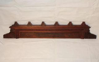 Carved Walnut Crest Pediment Architectural Decorative Mantel Furniture Crown photo