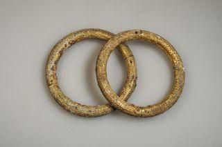 Very Rare Ancient Bronze Inlaid Gold Pair Bracelets Magnificent photo