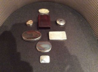 7 Solid Silver Treen Snuff Pill Patch Box From Queen Anne,  Georgian 1700 Onward photo