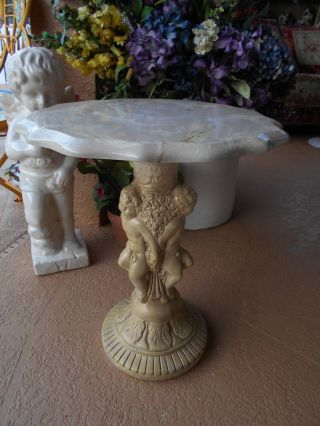 Vintage Plaster Cherub Angel Side Table Or Plant Stand W/marble Top 20 3/8