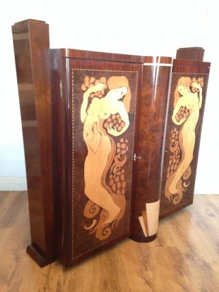 Unusual Italian Modernist Art Deco Inlaid Rosewood & Walnut Cabinet / Sideboard photo
