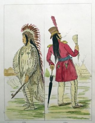 1842 Geo Catlin Hand Colored Engraving Native American Indians - 25cm photo