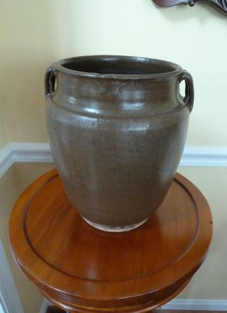 Ancient Chinese Stoneware Pottery Strap Handled Olive Vessel Jar Green Glazed photo