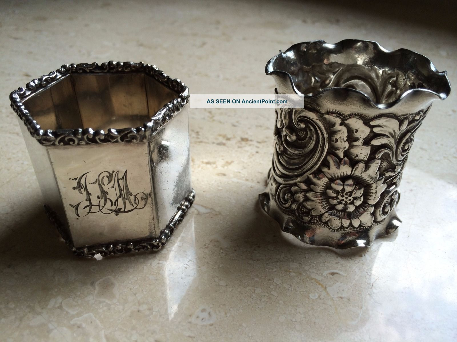 2 Antique Napkin Rings Silverplate Ornate One Monogrammed Napkin Rings & Clips photo