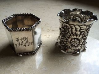 2 Antique Napkin Rings Silverplate Ornate One Monogrammed photo