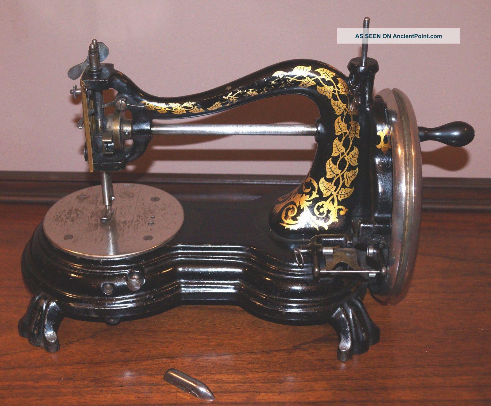 Antique Jones Hand Crank Serpentine Claw Foot Sewing Machine Great Decals Sewing Machines photo