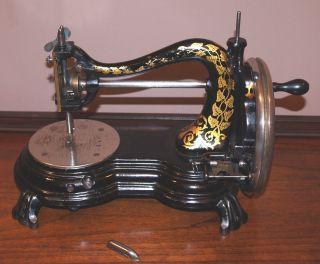Antique Jones Hand Crank Serpentine Claw Foot Sewing Machine Great Decals photo